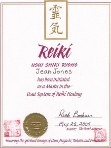 Reiki Master certificate - Western lineage